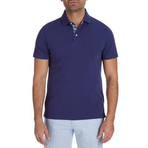 Hackett London Dark Blue Trim Collar Polo Top