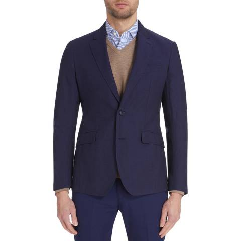 Hackett London Navy Textured Cotton Suit Jacket
