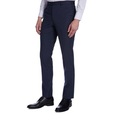 Hackett London Dark Blue Cotton Textured Trousers