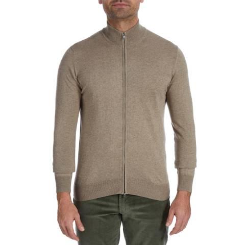 Hackett London Stone Zip Cotton/Cashmere Cardigan