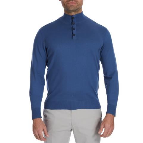 Hackett London Blue High Neck Cotton Jumper
