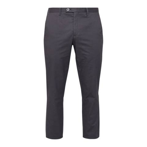 Ted Baker Charcoal Cliftro Dyed Cotton Stretch Trousers