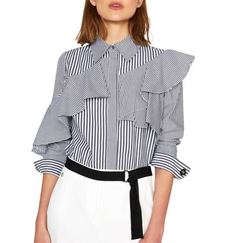 Outline Monochrome Breton Stripe Cotton Shirt