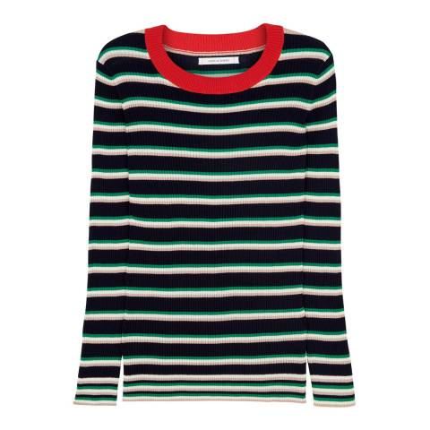 Chinti and Parker Navy/Green Striped Cotton Sweater