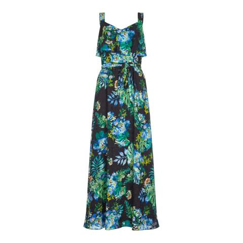 Adrianna Papell Black Multi Tropical Maxi Dress
