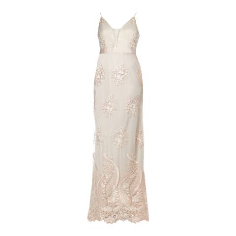 Adrianna Papell Almond Embroidered Tulle Dress