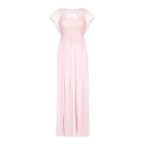 Adrianna Papell Satin Blush Lace Long Dress