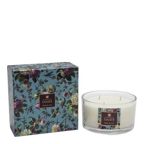 Oasis Pear &Amp; Lilly  Renaissance Rose 3 Wick Candle