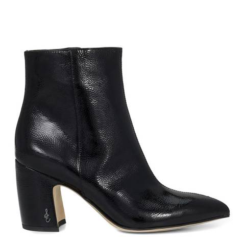 Sam Edelman Black Leather Hilty Crinkle Patent Ankle Boots