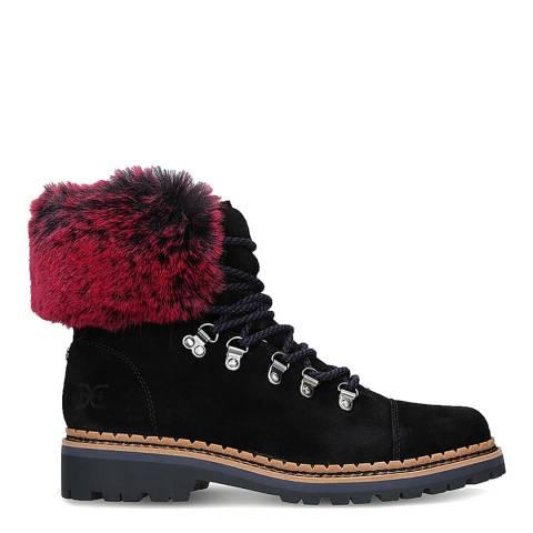 Sam Edelman Black Suede Bowen Faux Fur Cuff Ankle Boots