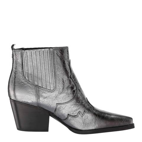 Sam Edelman Grey Leather Winona Distressed Metallic Ankle Boots
