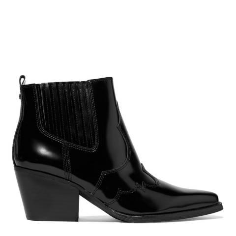 Sam Edelman Black Leather Winona Brush Off Ankle Boots