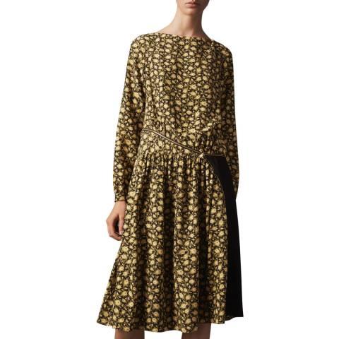 Burberry Yellow Floral Zip Detail Silk Dress