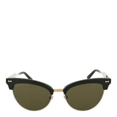 Gucci Women's Black / Silver Cat Eye Gucci Sunglasses 55mm
