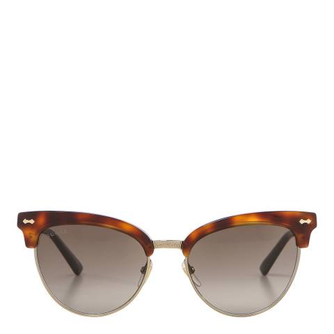 Gucci Women's Gold / Brown Cat Eye Gucci Sunglasses 55mm