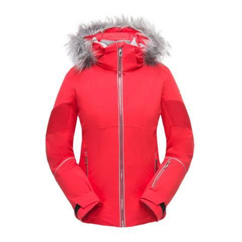 Spyder Women's Red Falline Faux Fur Jacket