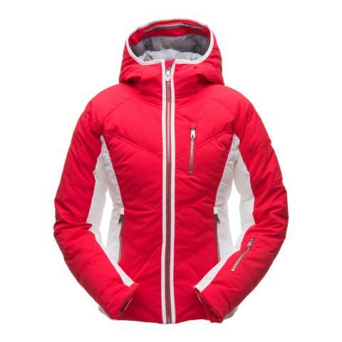 Spyder Women's Red/White Fleur Synthetic Down Ski Jacket