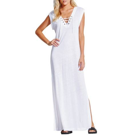 Seafolly White Lace Up Jersey Maxi