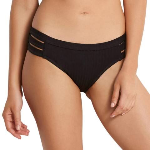 Seafolly Black Inka Rib Multi Strap Hipster Brief