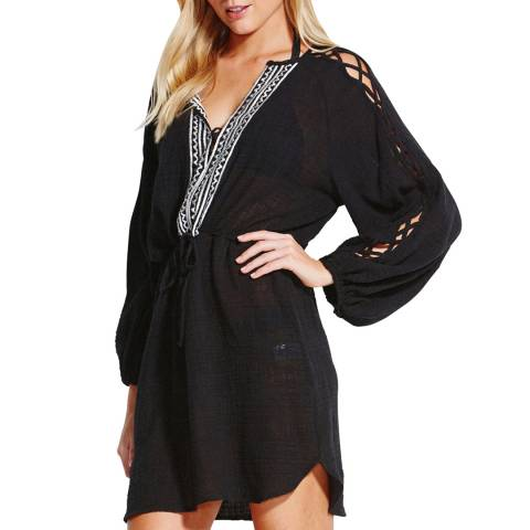 Seafolly Black Sun Temple Sleeve Detail Cover Up