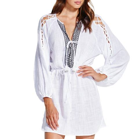 Seafolly White Sun Temple Sleeve Detail Cover Up