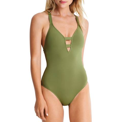 "Seafolly Moss Active Deep ""V"" Maillot"
