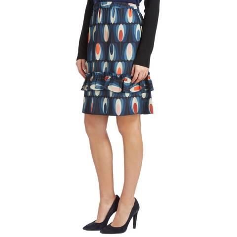 Orla Kiely Navy Oval Tulip Skirt