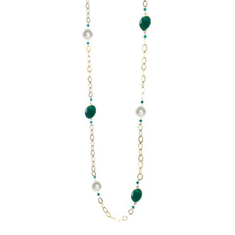 Liv Oliver Green Onyx and Pearl Necklace