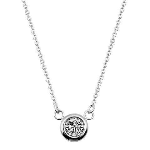 Black Label by Liv Oliver Silver Solitaire Necklace
