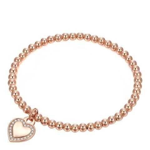 Tassioni Rose Gold Heart Charm Cubic Zirconia Bracelet