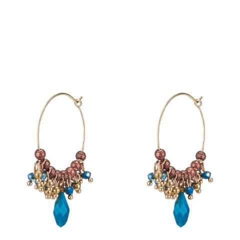 Tassioni Gold /Turquoise Crystal Bead Hoop Earrings