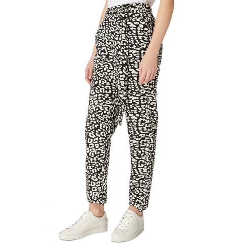 Laycuna London Black / Ivory Animal Print Slouchy Belted Trousers