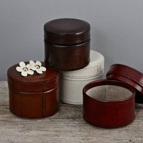 Life of Riley Cream Leather Mini Trinket Box