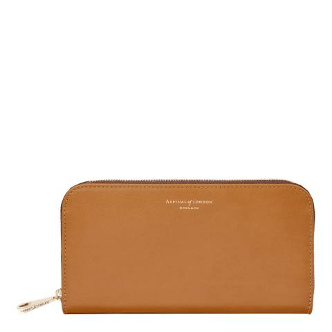 Aspinal of London Continental Clutch Purse Tan Smooth