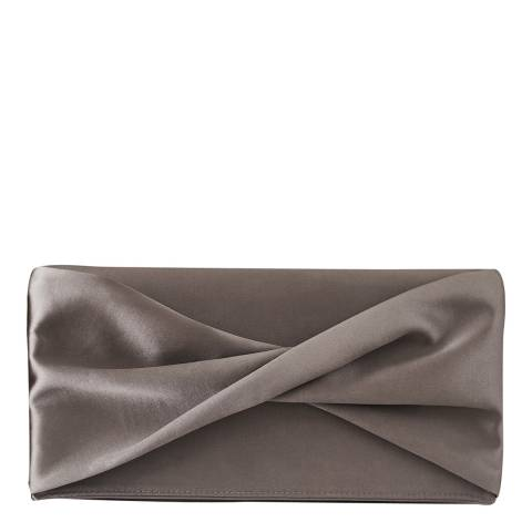 Reiss Grey Beau Shimmer Satin Clutch Bag