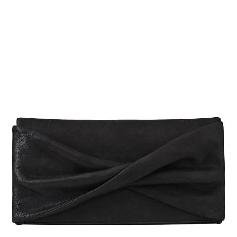 Reiss Black Baby Beau Shimmer Suede Leather Clutch Bag