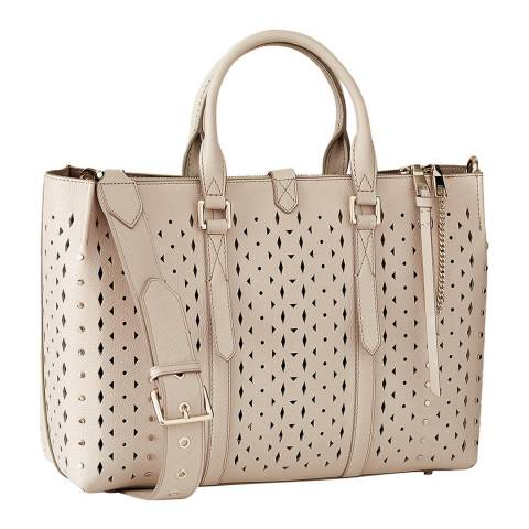 Reiss Ecru Picton Laser Cut Leather Bag