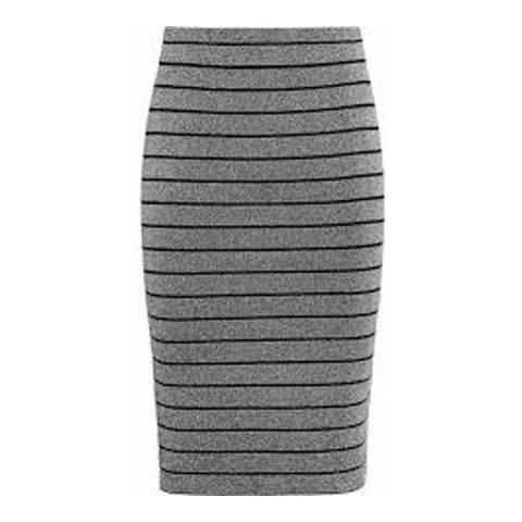 Reiss Silver Hanni Bandage Metallic Skirt