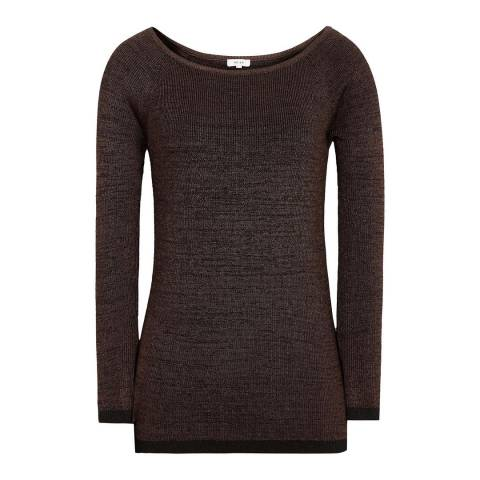 Reiss Chocolate Brooke Rib Top
