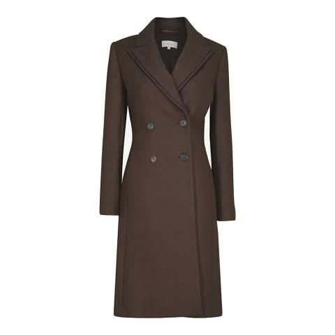 Reiss Chocolate Niles Wool Blend Coat