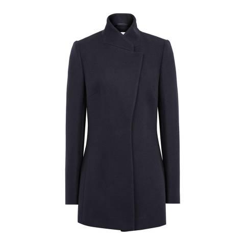 Reiss Navy Larsson Wool Blend Coat