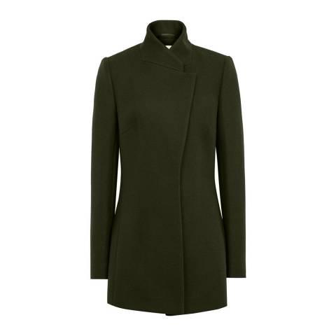 Reiss Khaki Larsson Wool Blend Coat