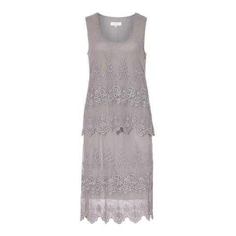 Reiss Dove Grey Leia Embroidered Lace Dress