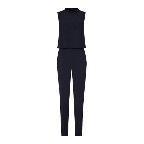 Reiss Night Navy Flavia High Neck Jumpsuit