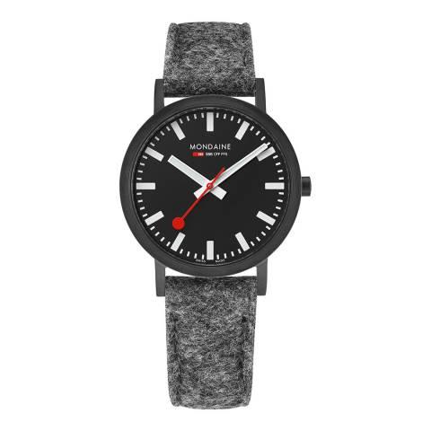 Mondaine Black Dial/Case Grey Felt Leather Strap Watch