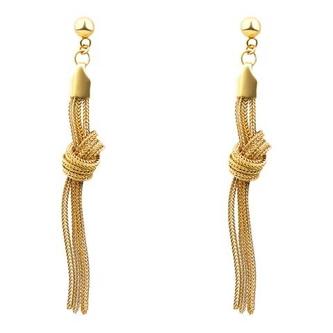 Black Label by Liv Oliver 18k Gold Plated Knot Chain Drop Earrings