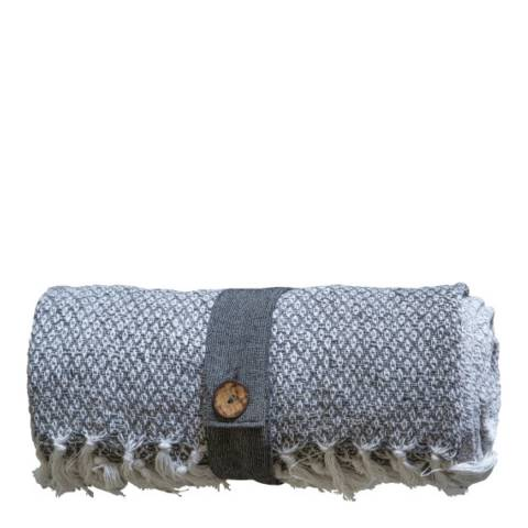 Gallery Grey Recycled Cotton Diamond Throw 130x170cm