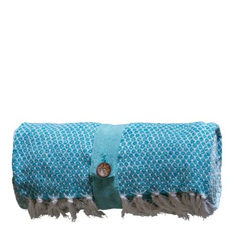 Gallery Teal Recycled Cotton Diamond Throw 130x170cm