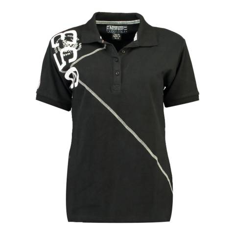 Geographical Norway  Black Kenvie Short Sleeve Polo