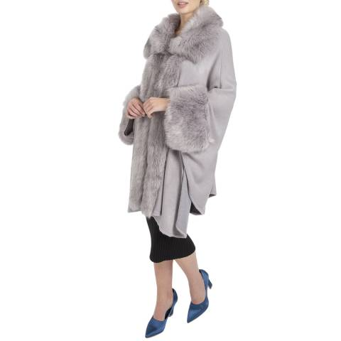 JayLey Collection Grey Luxury Faux Fur Fine Knitted Coat